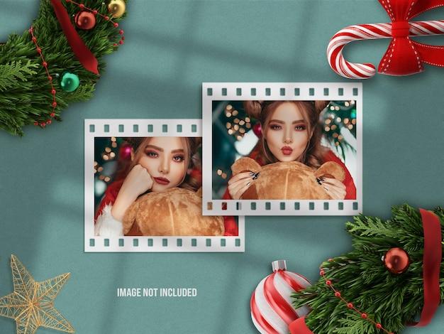 Mockup di moodboard realistico e minimalista o mockup di cornice per foto di carta per buon natale e felice anno nuovo