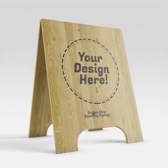 Mockup realistico dell'insegna in piedi in legno della caffetteria in prospettiva