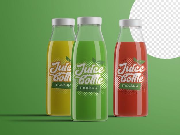 Mockup realistico di bottiglie di succo di frutta in plastica confezioni con gusti diversi