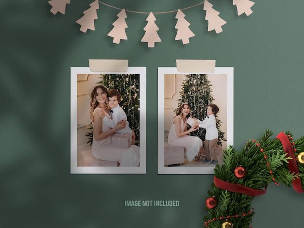 Mockup realistico di moodboard o mockup di cornice per foto di carta per buon natale e felice anno nuovo