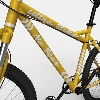 Realistico mountain bike bmx bicicletta 3d mockup vista ravvicinata