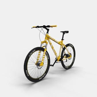 Realistico mountain bike bmx bicicletta 3d mockup vista frontale