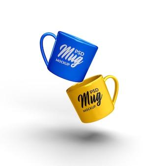 La tazza realistica personalizza il modello di colore isolato