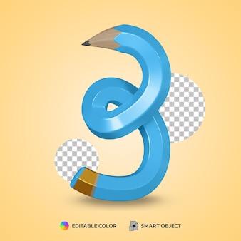 Realistico numero 3 matita flessibile colore isolato rendering 3d