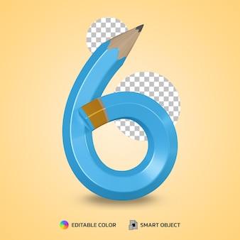 Realistico numero 6 matita flessibile colore isolato rendering 3d