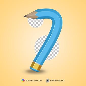 Realistico numero 7 matita flessibile colore isolato rendering 3d