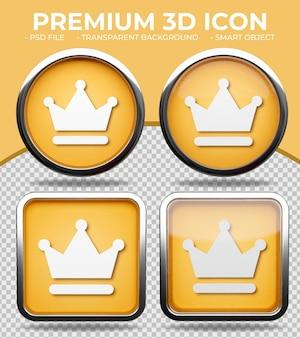 Bottone di vetro arancione realistico lucido rotondo e quadrato 3d premium o icona della corona