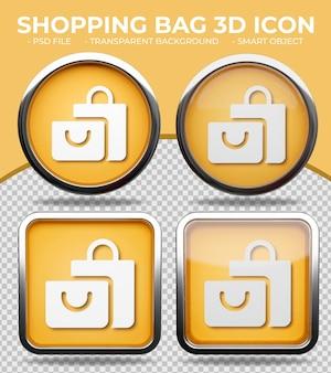 Icona realistica della borsa della spesa 3d rotonda e quadrata con bottone di vetro arancione realistico