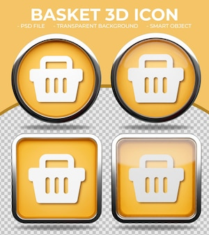 Bottone di vetro arancione realistico lucido rotondo e quadrato 3d icona del cestino della spesa