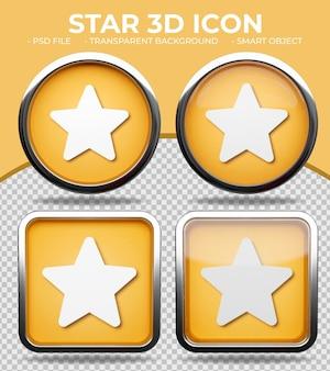 Bottone di vetro arancione realistico lucido rotondo e quadrato 3d star o icona di valutazione