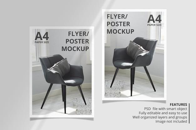 Design realistico di mockup di brochure di carta o volantini con sovrapposizione di ombre