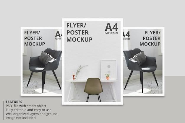 Progettazione di mockup di brochure realistiche in carta o volantini