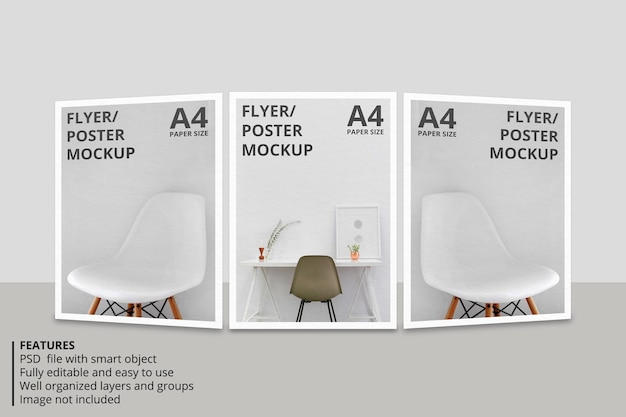 Design realistico del modello di brochure di carta o volantino
