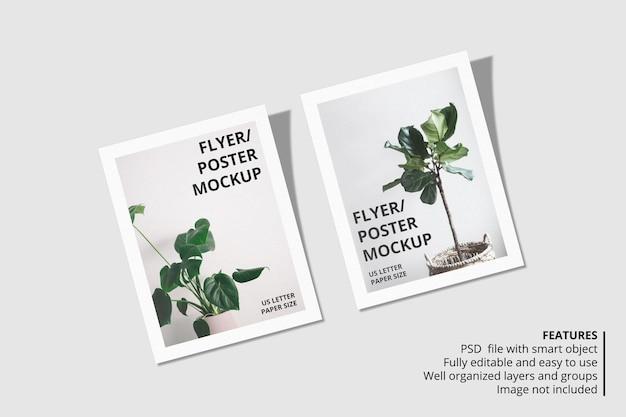 Design realistico di mockup di carta o volantino