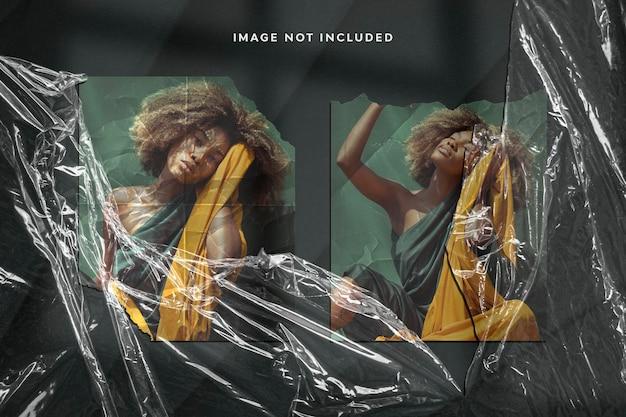 Effetto fotografico realistico su carta strappata e involucro di plastica