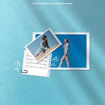 Modello di mockup polaroid con cornice per foto realistica psd premium