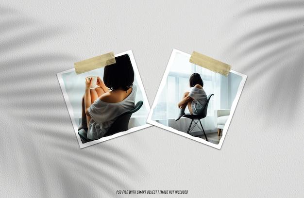 Modello di modello polaroid con cornice per foto realistica psd premium