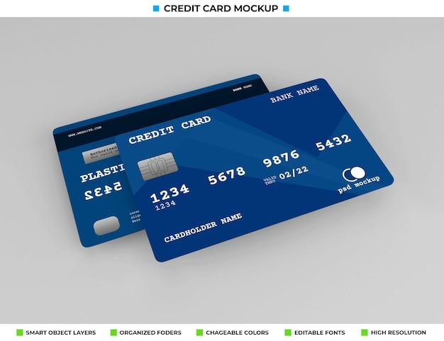 Mockup di carta bancaria o credito in plastica realistico