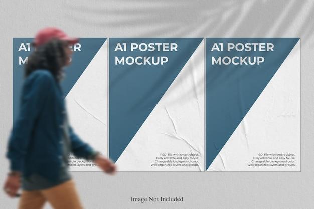 Mockup di poster realistico con sovrapposizione di ombre