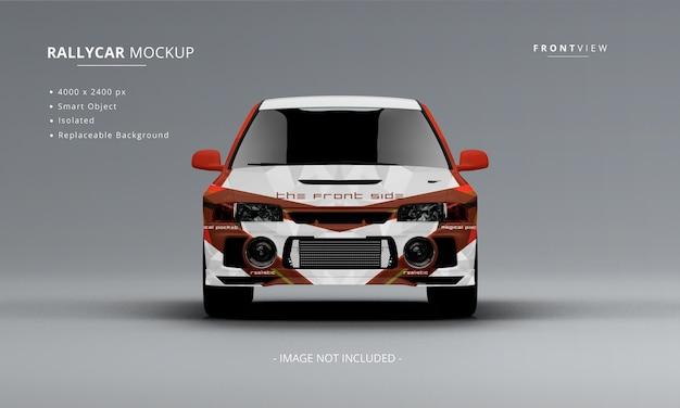 Realistico rally car mockup vista frontale isolata