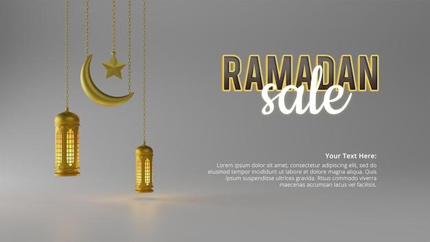 Modello realistico della bandiera dei social media di vendita del ramadan