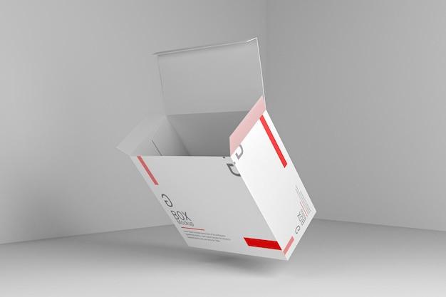 Design realistico del modello di scatola rettangolare con vista aperta a colori modificabile
