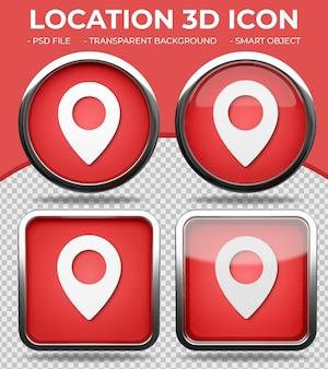 Pulsante di vetro rosso realistico lucido rotondo e quadrato 3d location icon