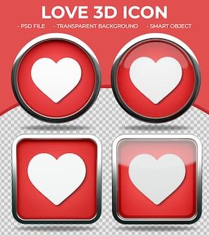 Pulsante di vetro rosso realistico lucido rotondo e quadrato 3d love react icon