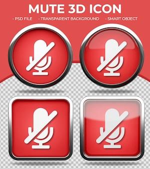 Pulsante di vetro rosso realistico lucido rotondo e quadrato 3d mute icon