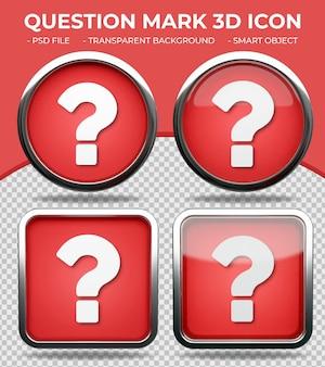 Pulsante di vetro rosso realistico lucido rotondo e quadrato 3d punto interrogativo icon