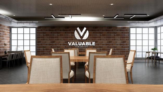 Mockup realistico del logo del ristorante con muro di mattoni