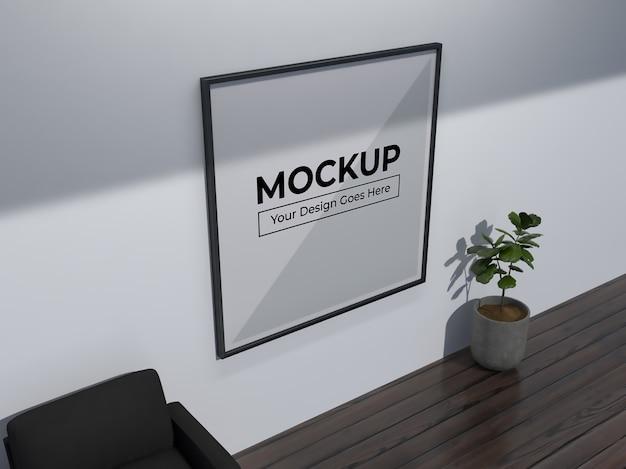 Mockup di cornice quadrata della foto della pittura di arte della decorazione della parete della stanza realistica