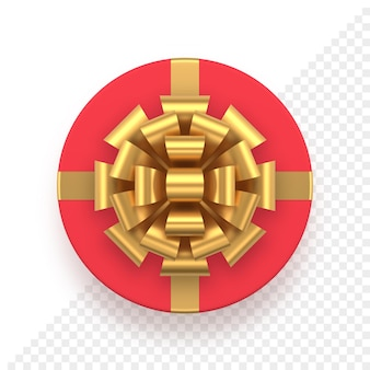 Tappo regalo rosso rotondo realistico con fiocco dorato