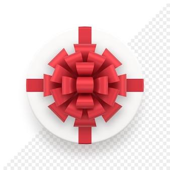 Tappo regalo bianco rotondo realistico con fiocco rosso. confezione regalo di natale e capodanno per la decorazione di eventi e anniversari. oggetto festivo per banner vacanza o biglietto di auguri.