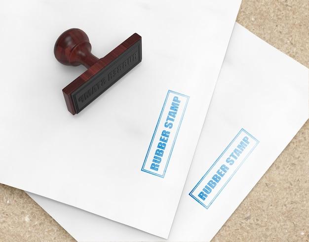Timbro di gomma realistico o design mockup logo pad timbro pad