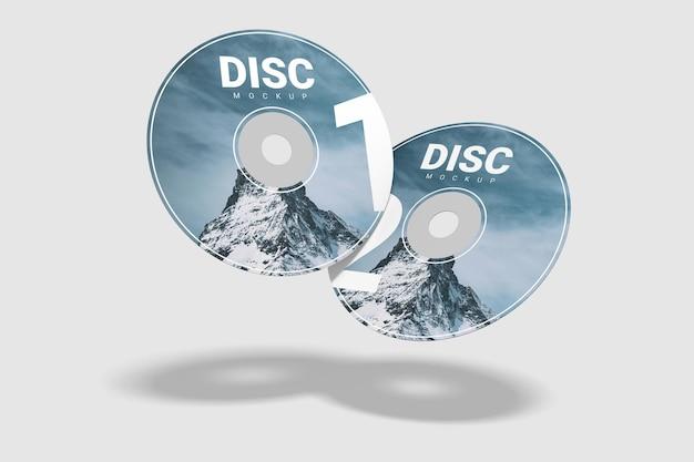 Set realistico di due mockup di compact disc