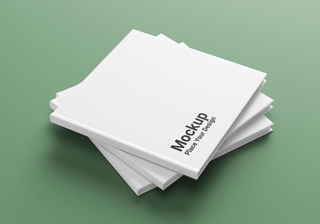 Mockup di libro con copertina rigida vista laterale realistico