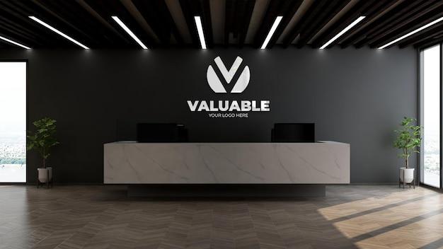 Realistico logo aziendale in argento mockup nella reception dell'ufficio o receptionist con parete nera