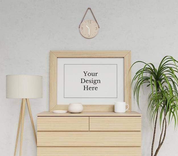Realistico singolo a1 poster frame mock up template seduta paesaggio nella scena di interni