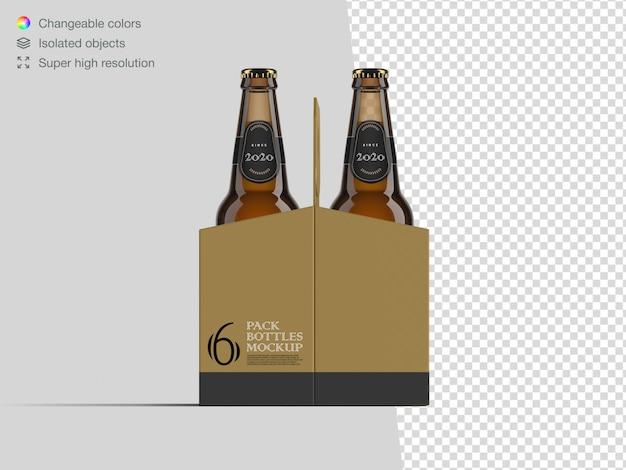 Modello realistico di mockup di bottiglia di birra da sei pack
