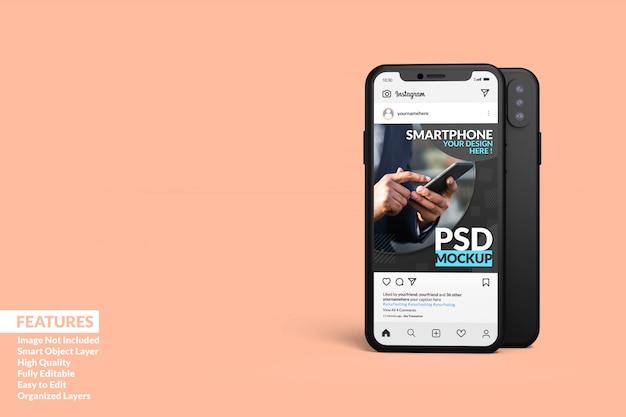 Smartphone realistico con modello di post instagram premium