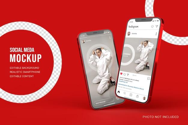 Mockup di smartphone realistico con post di instagram sui social media e interfaccia utente di storie