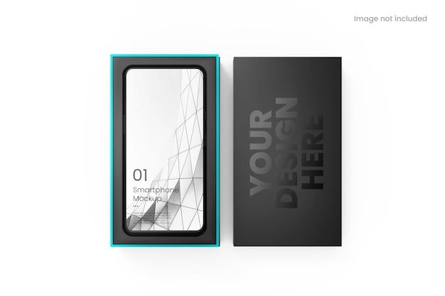 Smartphone realistico con mockup di scatola