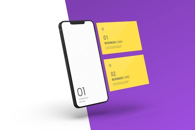 Smartphone realistico con mockup di biglietti da visita