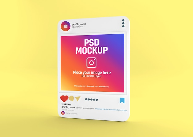 Mockup di post instagram realistico sui social media