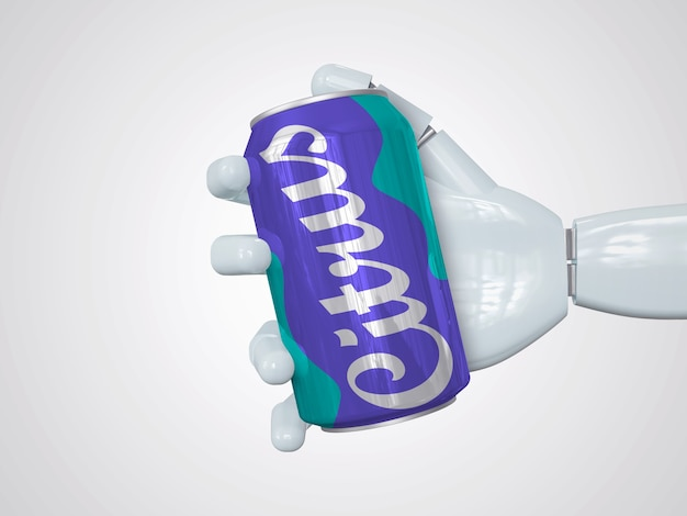 Mockup realistico della lattina di soda che tiene a mano