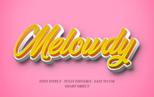 Effetto font 3d realistico soft candy