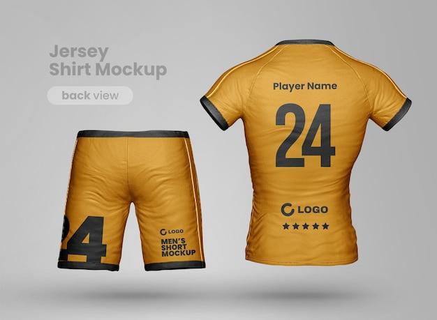 Mockup di abbigliamento sportivo realistico con pantaloncini e maglietta