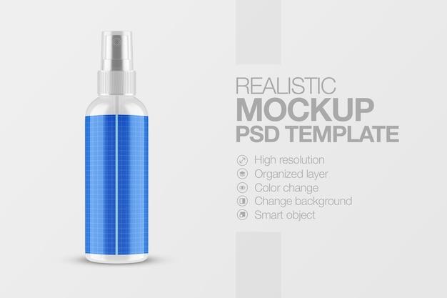 Mockup di bottiglia pompa spray realistico con tappo trasparente