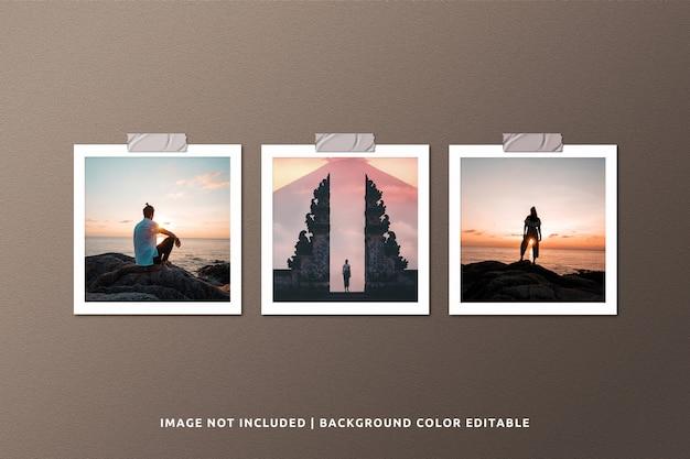 Mockup di foto con cornice di carta quadrata realistica